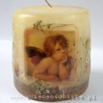 "candle with detail of Raphael Sanzio's painting "" Sistine Madonna"", small"