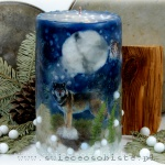 Winter candle of the forest with paper silhouettes of the wolf and two owls, big
