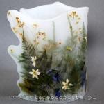 Lampion parafinowy leśny, z suszonymi roślinami. Wysokość ok. 20 cm, średnica ok. 16 cm