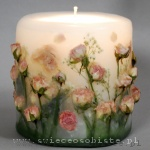 candle with salmon pink roses, small