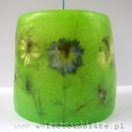 green candle with flowers, small