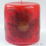 light red candle with gerbera, small