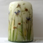 candle with grain, chamomile and cornflower, big