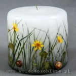 Candle with grass and snail's shell, small