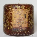"candle with detail of Gustav Klimt's painting ""Tree of Life"", small"