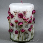 Candle with pink roses, big