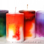 warsztaty tworzenia świec ozdobnych, barwienie przenikającymi się plamami koloru