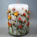 Candle with roses, big