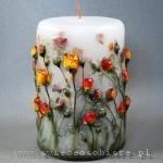 Świeca z różyczkami herbacianymi, duża