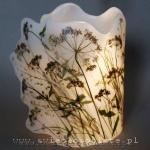 Lampionik parafinowy z roślinami łąkowymi, 21 cm wysokości, 14,5 cm średnicy