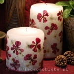 candles with red geranium and jasmin, small, big