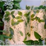 Lampiony parafinowe z suszoną czeremchą, 24 i 20 cm wysokie, średnica 15 cm