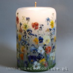 Candle with pansies and forget-me-nots, big