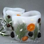 Lampioniki świąteczne z gałązkami cyprysu, szyszkami i mandarynką, 13 cm wysokości, 13 cm średnicy