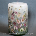 Candle with daisies, big