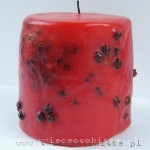 red candle with fruits of haw, small