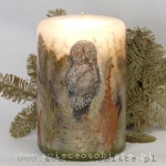 Forest candle with owl, big