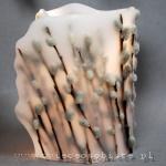 lampion parafinowy z suszonymi baziami, średnica ok. 15 cm, wysokość ok. 22 cm