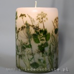 Candle with green meadow, big