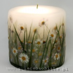 Candle with grass and daisies, small