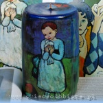 "candle with detail of Pablo Picasso's painting ""Child with a Dove"""
