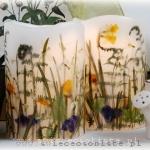 Lampiony z wiosennymi kwiatami, wysokość ok. 21 cm, średnica 14,5 cm