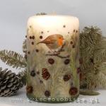 Świeca świąteczna z rudzikiem, duża