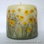 candle with buttercups, small