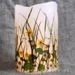 lampion parafinowy z suszonymi roślinami wiosennymi, wysokość ok. 20 cm, średnica ok. 13