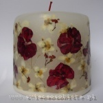 candle with red geranium and jasmin, small