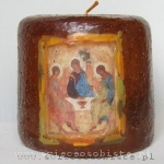 "candle with Andriej Rublov's painting ""Holy Trinity"", small"