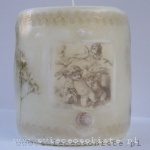 candle with angels picture, lace and shell, small