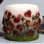 Candle with red roses, small