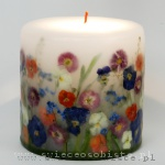 "Candle ""Garden"" with pansies, daisies and forgot-me-nots, small"