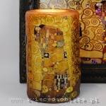 "Candle with detail of Gustav Klimt's painting ""Fullfilment"", big"