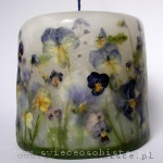 candle with blue flowers, small