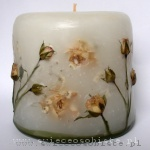 candle with ecru roses, small