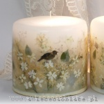 Candle with white lilac and paper nightingale, small