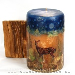 Winter candle with roe deer, big