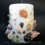 candle with shells and sand, big