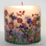 "Candle ""Garden"" with pansies and daisies, small"