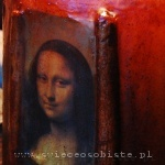"candle with detail of Leonardo da Vinci's painting ""Mona Lisa"", big"