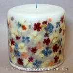 candle with verbena, hydrangea and phlox, small