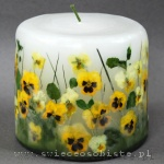 Candle with yellow pansies and grass, small