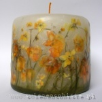 candle with yellow and orange pansies, small