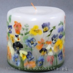 Candle with pansies, small