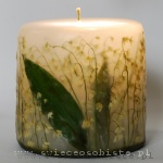 Candle with lilies of the valley, small