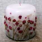 candle with dark pink roses, small
