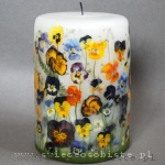 Candle with pansies, big