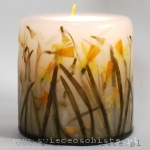 spring candle with snowdrops and daffodils, Easter candle, small